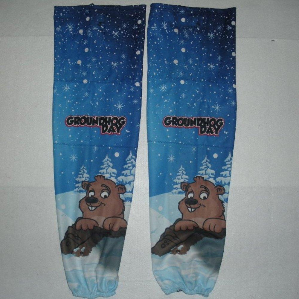 Chay Genoway - Hershey Bears - Groundhog Day Warmup-Worn Socks