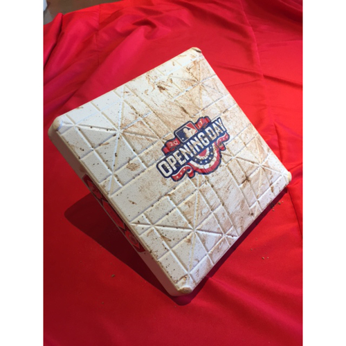 Opening Day Base - Game-Used Third Base, Sixth & Seventh Innings -- Base Used to Record Billy Hamilton's First Hit of the Season, the First Triple Hit by a Cincinnati Reds Player in 2017