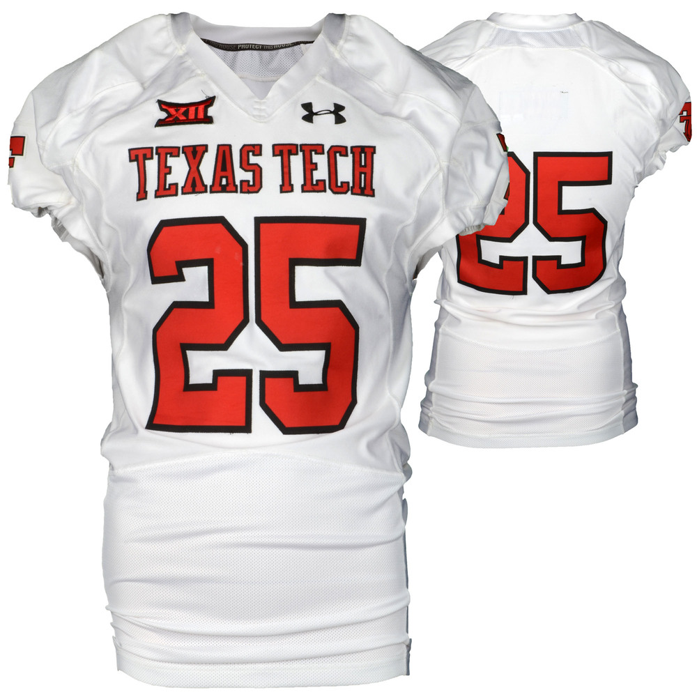 Texas Tech Red Raiders Game-Used White #25 Jersey Used During Victories Against Arkansas and Texas during the 2015 Season - Size 46