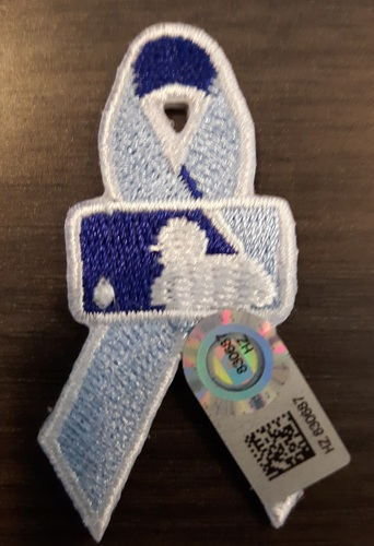 Photo of Authenticated Father's Day Ribbon Patch - #52 Ryan Tepera (June 21, 2015). Tepera went 0.1 IP with 1 Hit, 0 ER and 1 K. Approximately 2 inches in length by 1 inch in width.