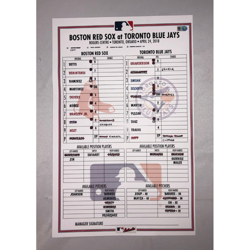 Photo of Red Sox vs Blue Jays April 24, 2018 Game-Used Lineup Card - Blue Jays Win 4 to 3