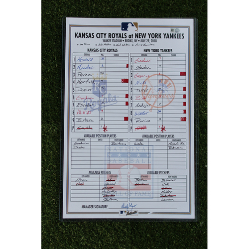 Photo of Game-Used Line-Up Card: J.A. Happ Yankees Debut (KC @ NYY - 7/29/18)