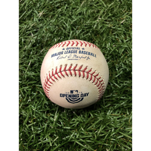 Photo of Opening Day Game Used Baseball: Yonny Chirinos First MLB Start - April 5, 2018 at BOS
