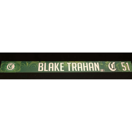Photo of Blake Trahan -- Game-Used Locker Name Plate -- 2019 St. Patrick's Day