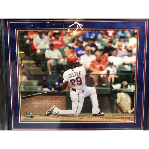 Photo of Adrian Beltre Swinging From The Knee, Back View - Autographed 16x20 Photo