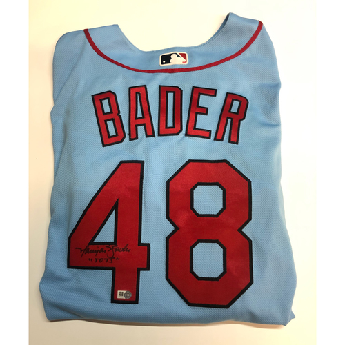 "Photo of Harrison Bader ""Tots"" Autographed Authentic Blue Cardinals Jersey"