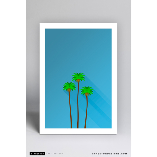 Dodger Stadium Three Sisters - Minimalist Ballpark Art Print by S. Preston  - Los Angeles Dodgers