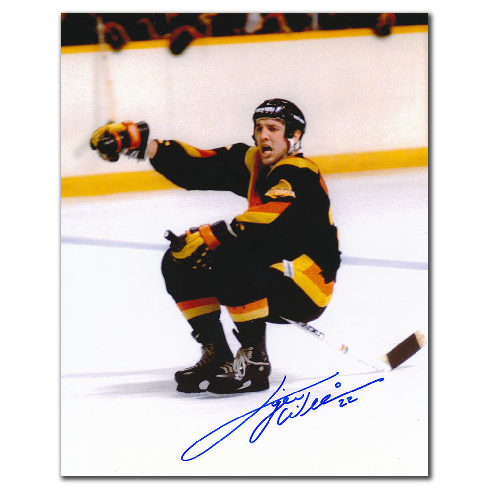 Tiger Williams Vancouver Canucks STICK RIDE Autographed 8x10