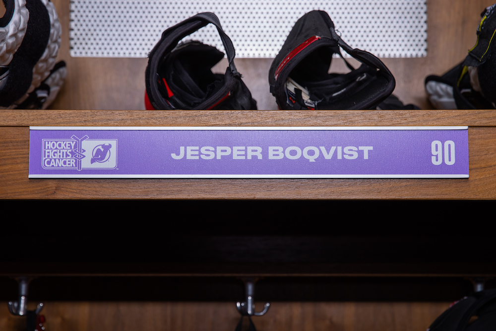 Jesper Boqvist Autographed 2020-21 Hockey Fights Cancer Locker Room Nameplate - New Jersey Devils