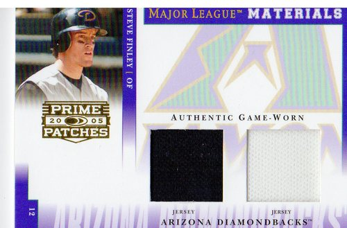 Photo of 2005 Prime Patches Major League Materials Double Swatch #14 Steve Finley Jsy-Jsy/150