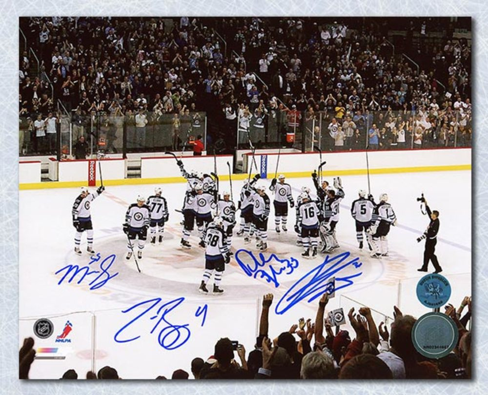 Byfuglien Pavelec Bogosian & Scheifele Winnipeg Jets Signed Return 16x20 Photo