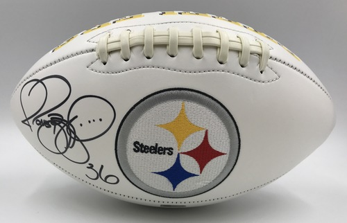 Photo of Jerome Bettis Autographed Pittsburgh Steelers Football