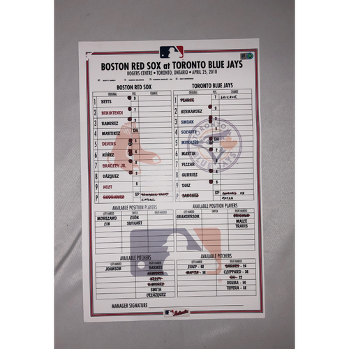 Photo of Red Sox vs Blue Jays April 25, 2018 Game-Used Lineup Card - Red Sox Win 4 to 3