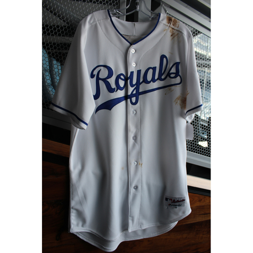 Photo of Game-Used 1969 Throwback Jersey: Alex Gordon (Size 46 - NYY at KC - 5/19/18)