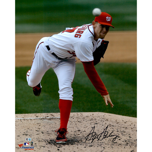 "Photo of Stephen Strasburg Washington Nationals Autographed 16"" x 20"" Follow Thru Photograph"