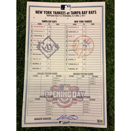 Photo of Opening Day Replica Lineup Card: Kevin Kiermaier (2R, 2H), Evan Longoria (R, 2H, HR, 3RBI), Chris Archer (W, 7.0IP, 5 SO) and Aaron Judge (Rookie of the Year Season) - April 2, 2017 vs. NYY