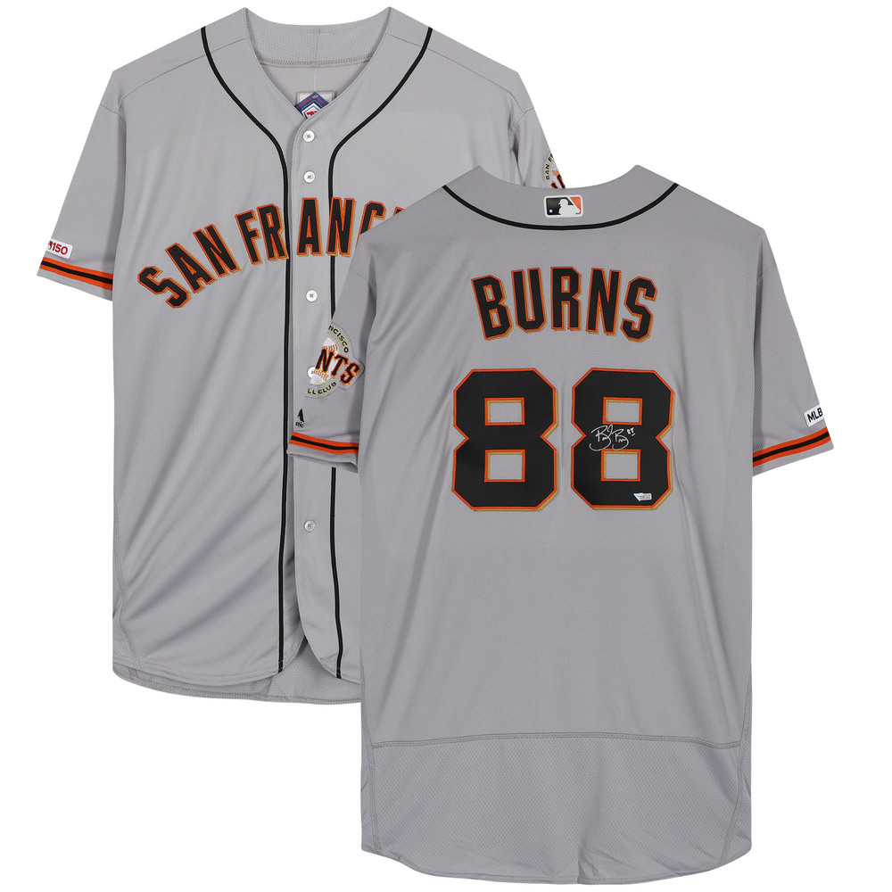 Brent Burns San Jose Sharks Autographed San Francisco Giants Grey Majestic Authentic Jersey - NHL Auctions Exclusive