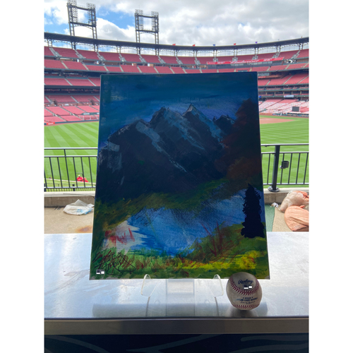 Photo of Cardinals Authentics: Game Used Baseball Pitched by Freddy Peralta to Harrison Bader *Home Run 425 Feet* *FredBird Painting*