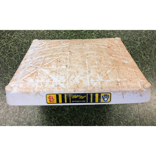 Photo of Game-Used 2020 Base - 09/15/20 - STL @ MIL - 1st Base, Innings 1-9 - Yelich, Braun, Hiura & Vogelbach HRs Power Brewers 18-3 Victory