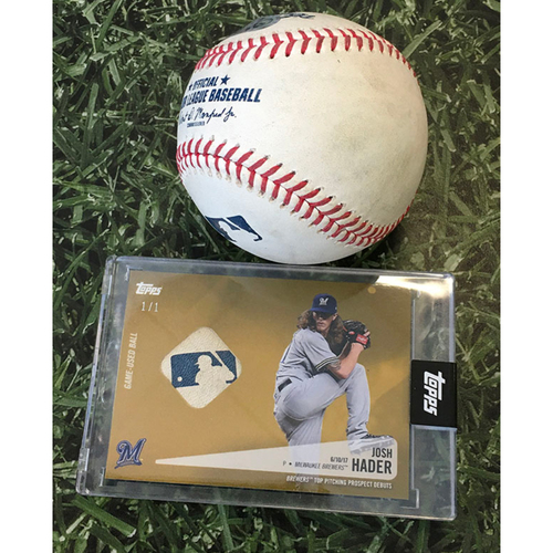Photo of Game-Used Baseball KC@MIL 09/18/20 - Josh Hader - Hunter Dozier: Strikeout (Includes Josh Hader Topps Relic Card Commemorating MLB Debut[(06/10/17] - Limited Edition # 1 / 1)