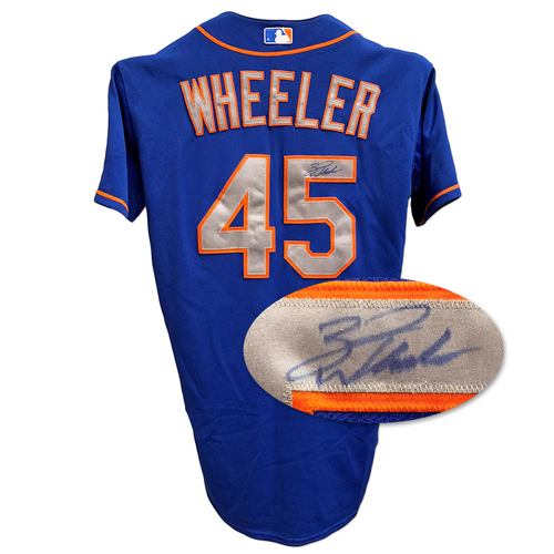Photo of Zack Wheeler #45 - Autographed and Game Used Blue Alt. Road Jersey with Kiner Patch - 6 IP, 7 K's - Mets vs. Marlins - 5/7/14