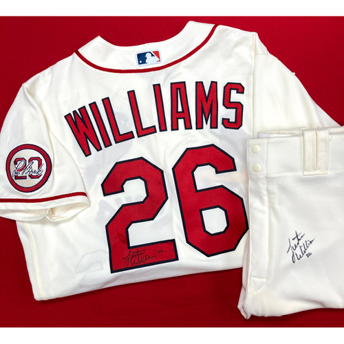Photo of Justin Williams Autographed Team Issued Home Alternate Jersey w/ Lou Patch (Size 44) and Autographed Team Issued Home Alternate Pants (Size 36)