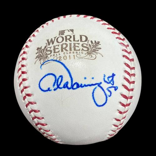 Photo of Adam Wainwright Autographed 2011 World Series Baseball