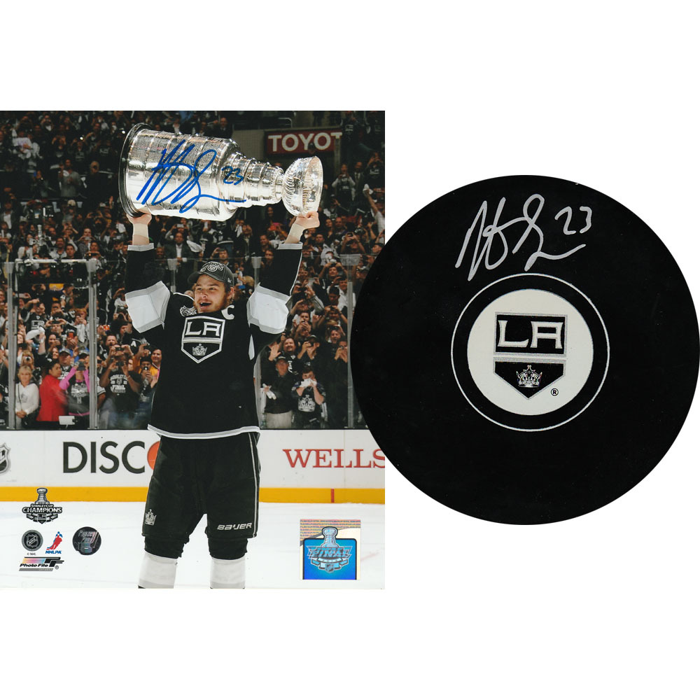 Dustin Brown Autographed Combo Lot - 8X10 Photo & Puck