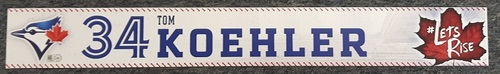 Photo of Authenticated Game Used Locker Name Plate - #34 Tom Koehler (2 feet by 3 inches)