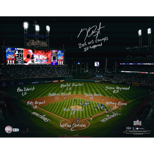"Photo of Kris Bryant Chicago Cubs Autographed 16"" x 20"" World Series Celebration Photograph with Game 7 Starting Lineup Inscriptions - L. E. #17 of 17"