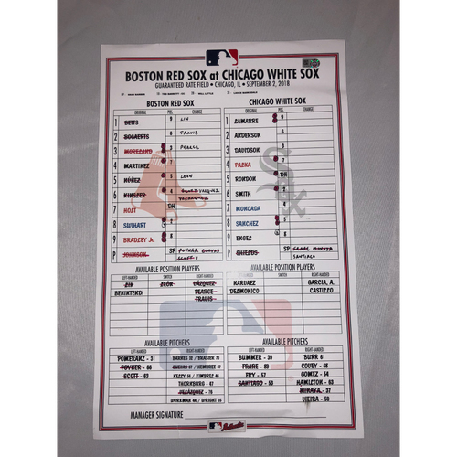 Photo of Red Sox at White Sox - September 2, 2018 Game-Used Lineup Card - White Sox Win 8 to 0
