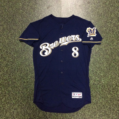 Photo of Ryan Braun 2017 Game-Used Navy Alternate Jersey