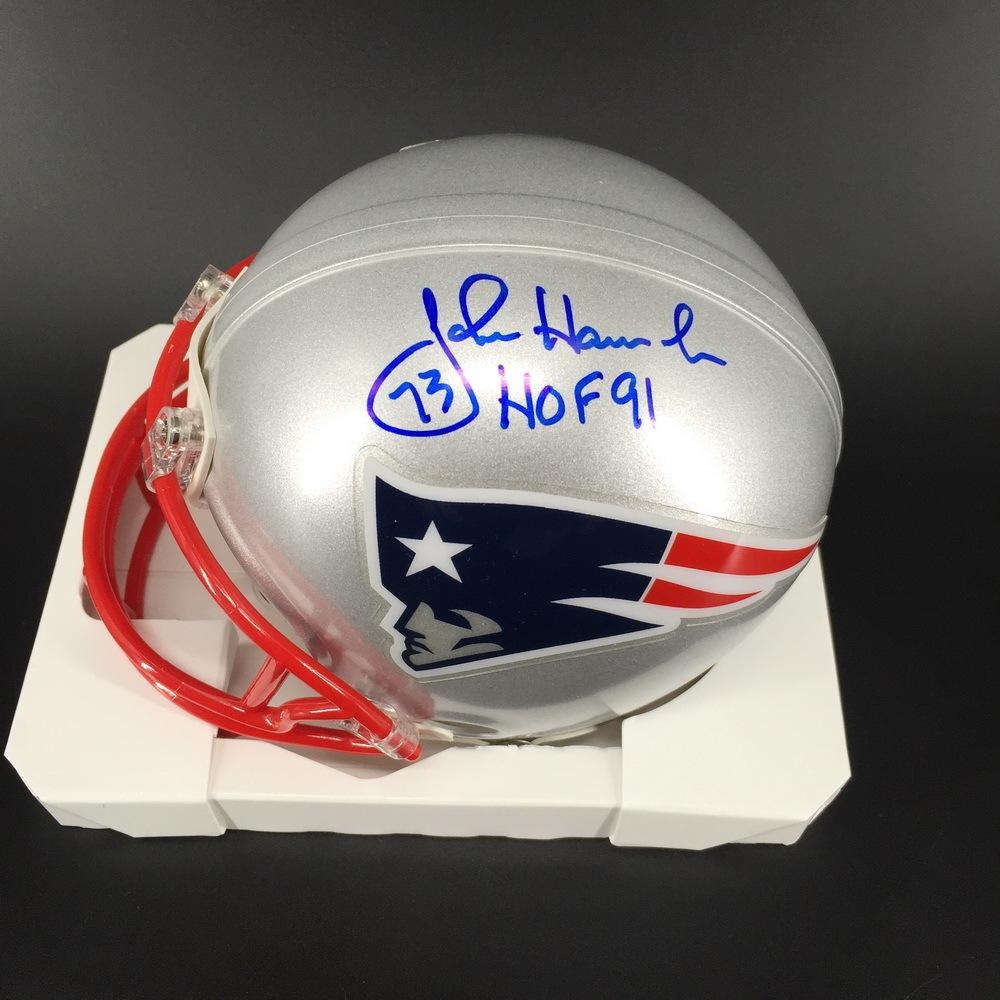 HOF - Patriots John Hannah Signed Mini Helmet