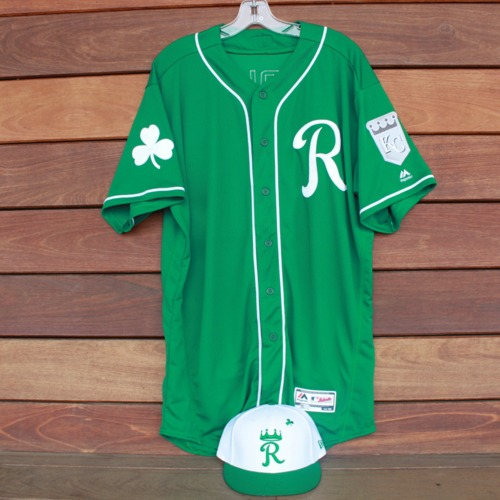Photo of Team-Issued Saint Patrick's Day Jersey and Game-Used Cap: Bubba Starling (Jersey Size 48 - Cap Size 7 1/2)