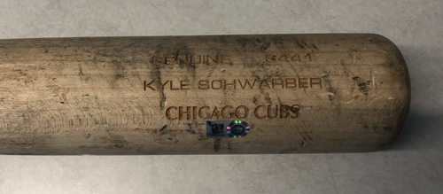 Photo of Kyle Schwarber Game-Used Cracked Bat -- Wander Suero to Kyle Schwarber, Single, Top 8 -- Cubs at Nationals -- 5/19/19