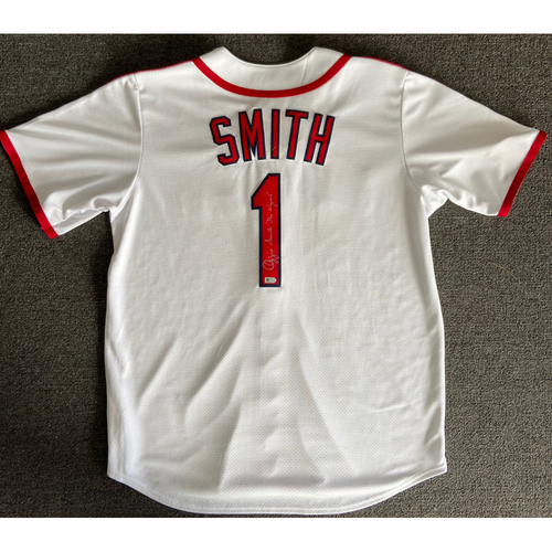 "Photo of Ozzie Smith ""The Wizard"" Autographed White Cardinals Jersey"