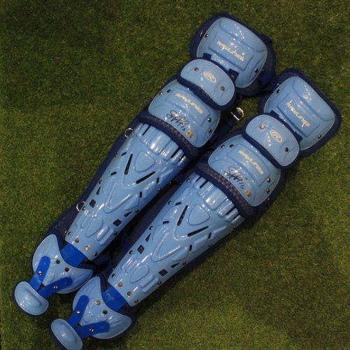 Photo of Autographed Team-Issued Catcher Shin Pads: Salvador Perez #13