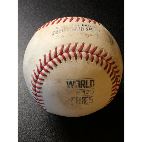 Photo of Game-Used Baseball - 2020 World Series - Los Angeles Dodgers vs. Tampa Bay Rays - Game 5 - Pitcher: Clayton Kershaw, Batters: Yandy Diaz (RBI Triple), Randy Arozarena (3 Pitches, Ball in Dirt) - Bot 3