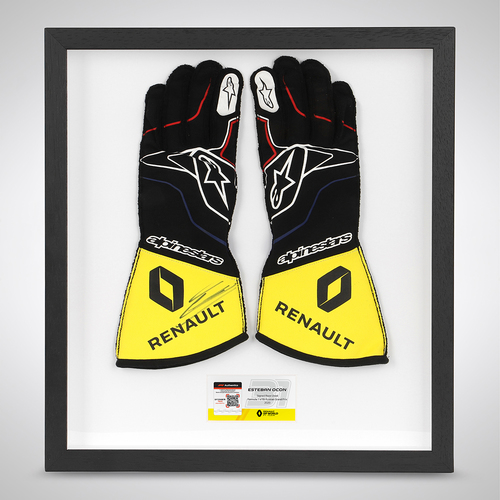 Photo of Esteban Ocon 2020 Framed Signed Race-worn Gloves - Russian Grand Prix