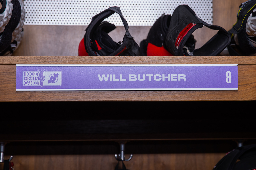 Will Butcher Autographed 2020-21 Hockey Fights Cancer Locker Room Nameplate - New Jersey Devils