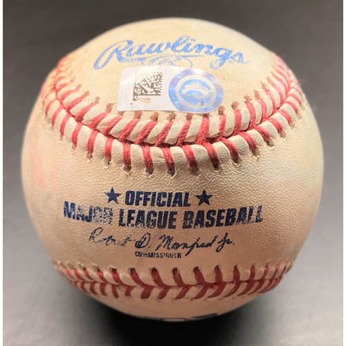 Photo of 2021 Opening Day Game-Used Baseball:  Shane Bieber Cleveland Indians Pitch to Miguel Cabrera (MLB AUTHENTICATED)