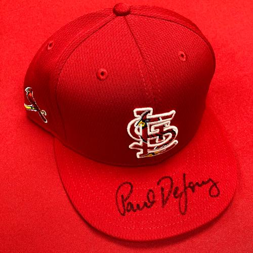 Photo of Paul DeJong Autographed Team Issued Batting Practice Cap (Size 7 1/4)