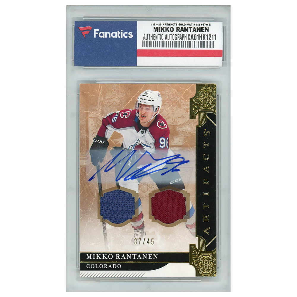 Mikko Rantanen Colorado Avalanche Autographed 2019-20 Upper Deck Artifacts Stars Autograph Material Gold #112 Card - LE#37 of 45
