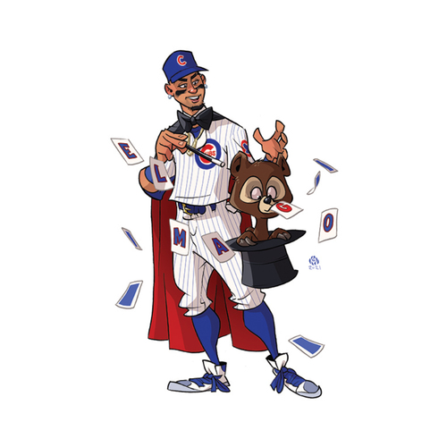 """Photo of Limited Edition Kev Roche """"Super-Hero"""" Prints -- Autographed by Javier Baez"""