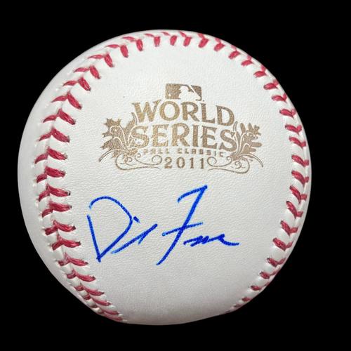 Photo of David Freese Autographed 2011 World Series Baseball