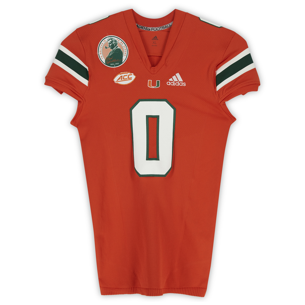 #0 Miami Hurricanes Game-Used adidas Primeknit Jersey with Howard Schnellenberger Patch vs. Virginia Cavaliers September 30, 2021 - Size XL