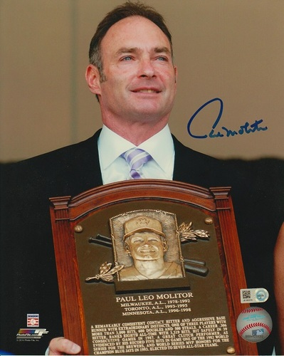 Photo of Paul Molitor Autographed 8x10 - HOF Induction