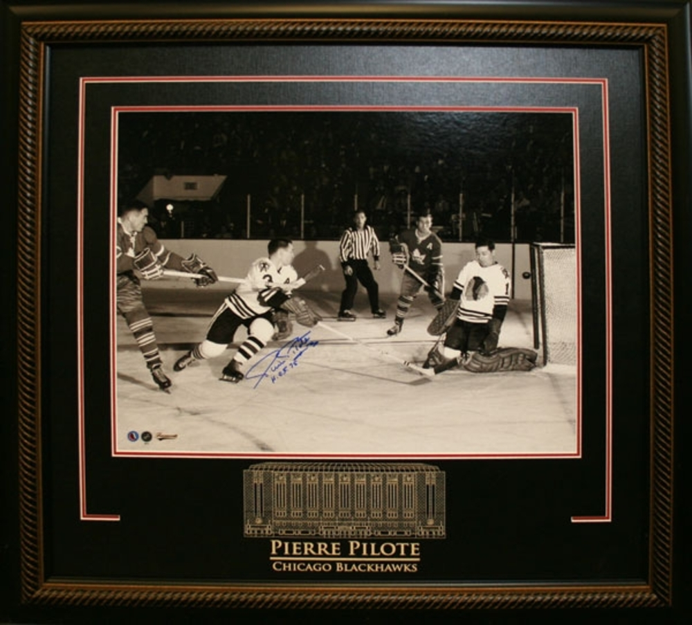 Pierre Pilote - Signed & Framed 16x20 Etched Mat - Chicago Blackhawks vs Toronto Maple Leafs - 55th ANNIVERSARY OF THE OPENING OF THE HHOF (August 26th, 1961)