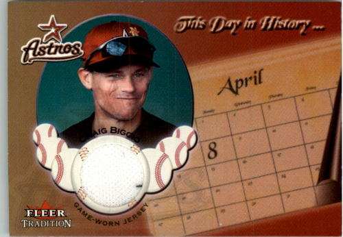 Photo of 2002 Fleer Tradition Update This Day In History Game Used #2 Craig Biggio Jsy