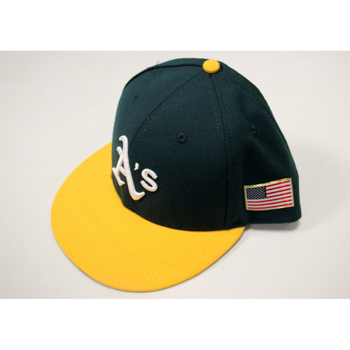 Ryon Healy #25 2017 Team Issued Home Hat w/ American Flag